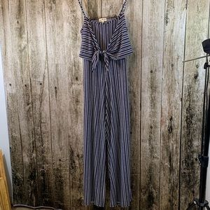 NWT Navy/White Striped Jumpsuit, XL by Derek Heart